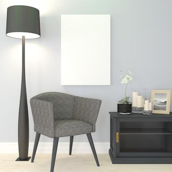 3d współczesne wnętrze salonu i nowoczesne meble