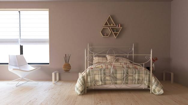 3d współczesne wnętrze sypialni