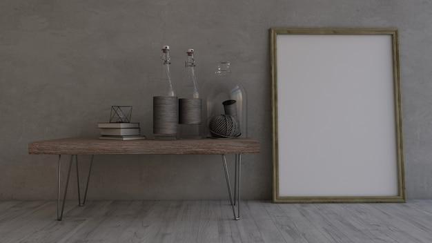 3d współczesny pusty pokój i ramka na zdjęcia