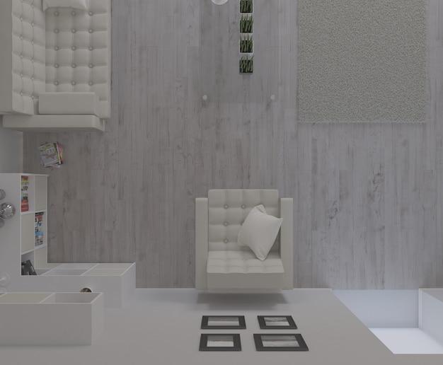 3d współczesny salon wnętrze i nowoczesne meble