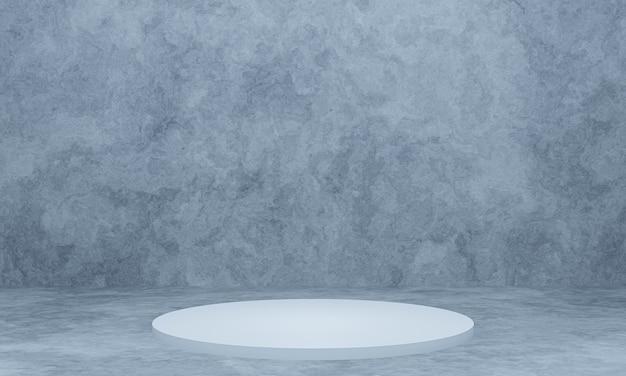 3d wydanego białego podium z tłem ściany cementu