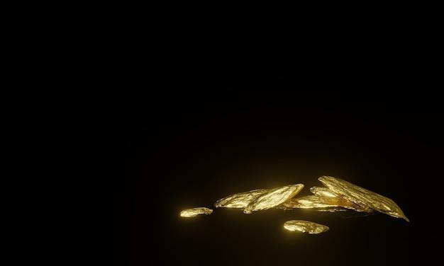 3d wydanego czystego złota bryłki na czarnym tle.