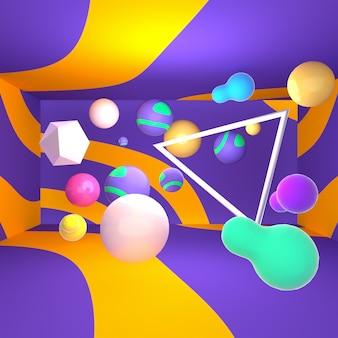 3d wyrenderowany obraz abstrakcyjnych kształtów geometrycznych pokoju