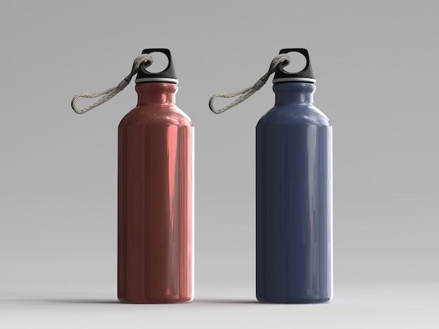 3d wytopione aluminiowe butelki na wodę