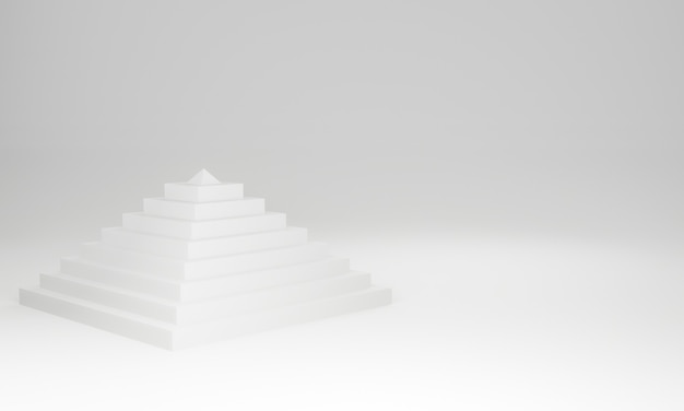 3d wytopione białe tło piramidy