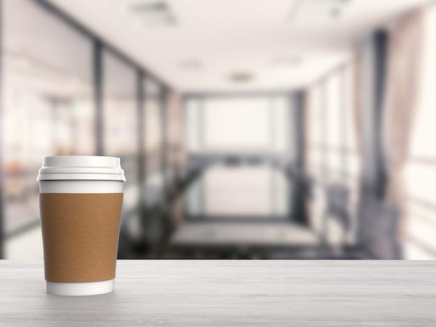 3d wytopiony pusty papierowy kubek do kawy
