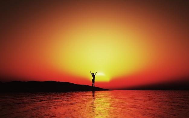 3d zachód słońca krajobraz z kobietą z rękoma wzniesionymi w radości