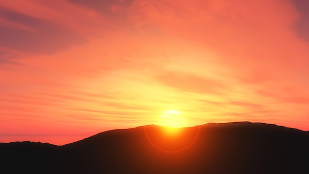 3d zachód słońca krajobraz