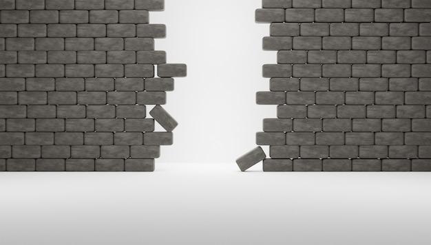 3d zepsute bloki lub ściana z białym tłem