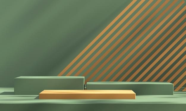 3d zielony i pomarańczowy wyświetlacz podium produktu z pomarańczowym tłem i cieniem drzewa, tło makiety produktu letniego, ilustracja renderowania 3d