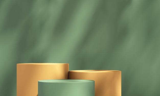 3d zielony i pomarańczowy wyświetlacz podium produktu z zielonym tłem i cieniem drzewa, tło makiety produktu letniego, ilustracja renderowania 3d