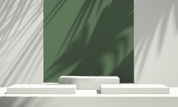 3d zielony wyświetlacz podium produktu z zielonym i białym tłem i cieniem drzewa, tło makiety produktu letniego, ilustracja renderowania 3d