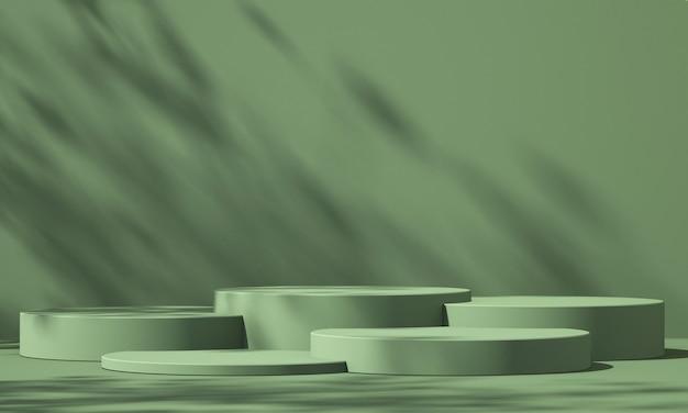 3d zielony wyświetlacz podium produktu z zielonym tłem i cieniem drzewa, tło makiety produktu letniego, ilustracja renderowania 3d