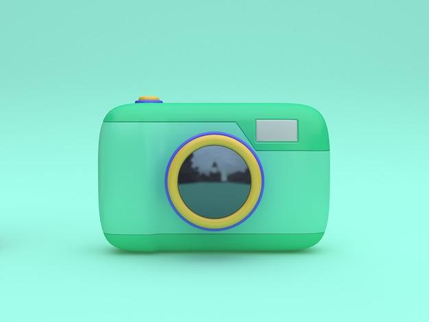 3d zielony zabawka aparat stylu cartoon minimalny zielony renderowania 3d