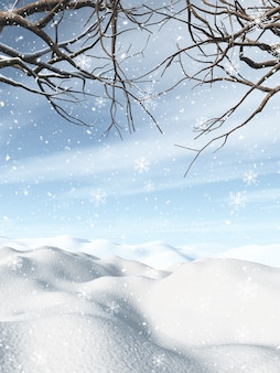 3d zimowy krajobraz z ośnieżonymi drzewami