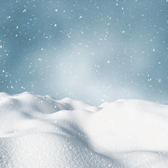 3d zimowy śnieżny krajobraz