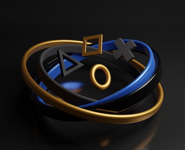 3d złote abstrakcyjne kształty geometryczne