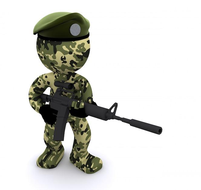 3d żołnierz z kamuflażem