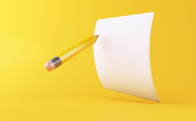 3d żółty ołówek z czystym arkuszu papieru