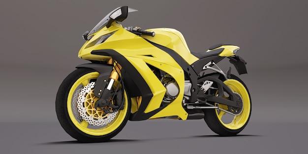 3d żółty super sportowy motocykl na szarym tle. ilustracja 3d.