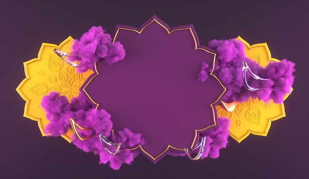 3diwali, festiwal świateł scena 3d z indyjskim rangoli, błyszcząca i złota dekoracyjna lampa naftowa diya, fioletowe chmury. ilustracja renderowania 3d.
