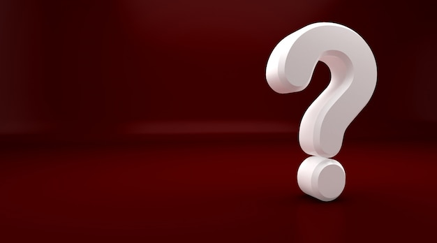 3drendering biały znak zapytania na czerwonym tle. wykrzyknik i znak zapytania