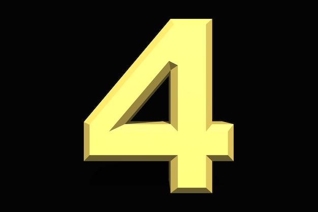4 cztery liczby 3d niebieski na ciemnym tle