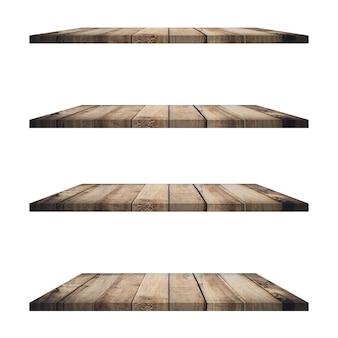4 drewniane półki stół na białym tle i montaż wyświetlacza dla produktu.