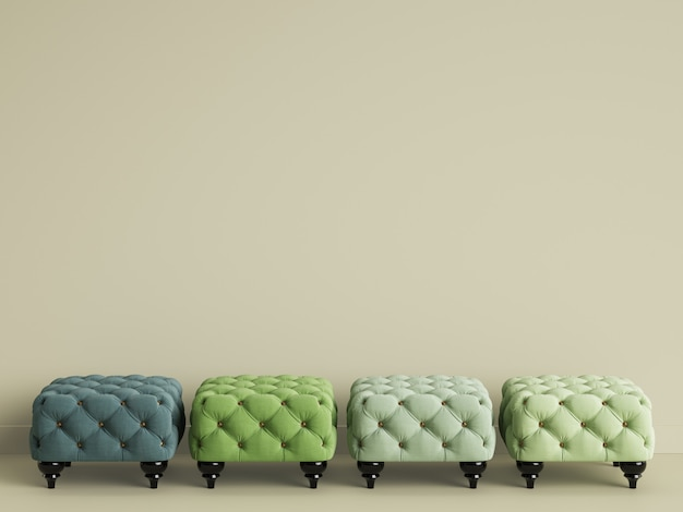 4 pufy w różnych kolorach geen w beżowym pokoju z miejscem do kopiowania. renderowania 3d