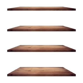4 stół półki drewniane na białym tle i montaż wyświetlacza dla produktu.