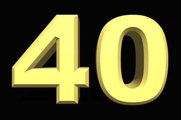 40 czterdzieści liczba 3d niebieski na ciemnym tle