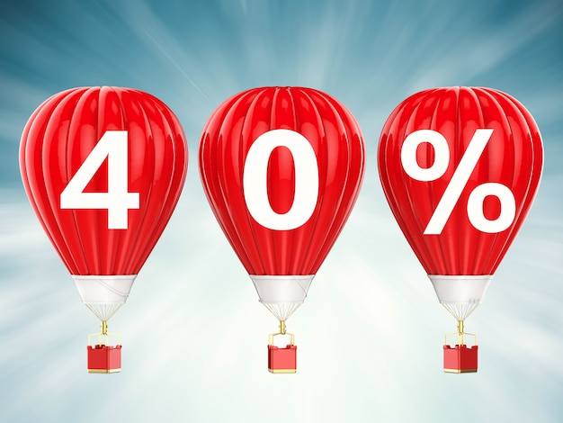 40% znak sprzedaży na renderowaniu 3d czerwonych balonów na gorące powietrze