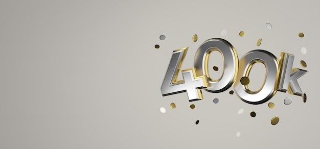 400k lubi media społecznościowe online dziękuję za renderowanie 3d banerów