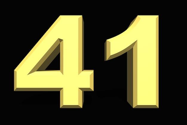 41 czterdzieści jeden numer 3d niebieski na ciemnym tle