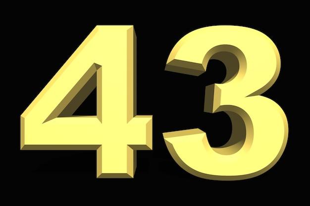 43 czterdzieści trzy liczby 3d niebieski na ciemnym tle