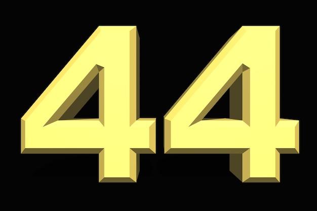 44 czterdzieści cztery cyfry 3d niebieskie na ciemnym tle