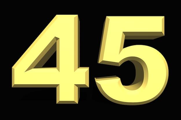 45 czterdzieści pięć liczb 3d niebieski na ciemnym tle