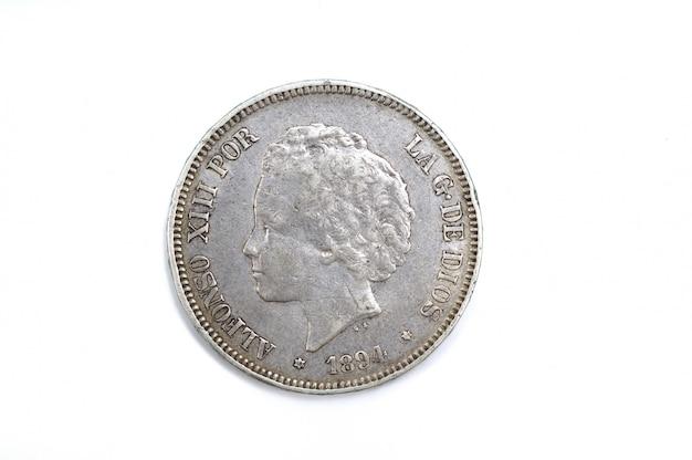 5 peset, un duro, alfons xiii, srebro