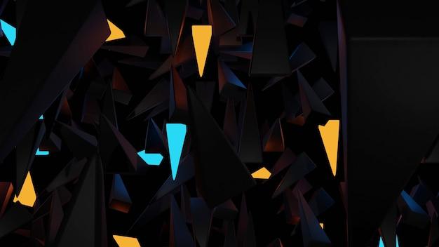 5-stronny stożkowy obiekt, czarne tło z pomarańczowym i niebieskim blaskiem obiektów renderowania 3d