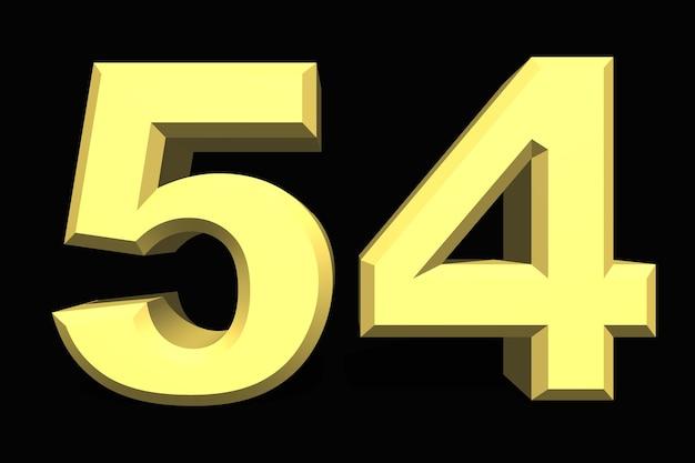 54 pięćdziesiąt cztery numer 3d niebieski na ciemnym tle