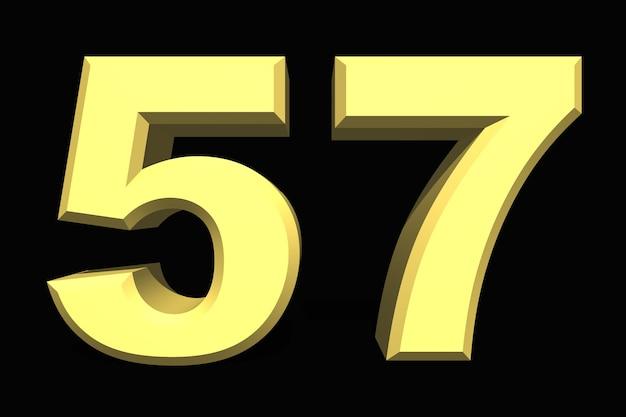 57 pięćdziesiąt siedem numer 3d niebieski na ciemnym tle