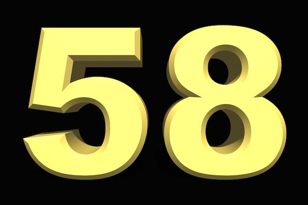 58 pięćdziesiąt osiem cyfr 3d niebieski na ciemnym tle