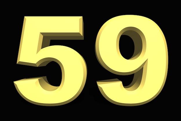59 pięćdziesiąt dziewięć numer 3d niebieski na ciemnym tle