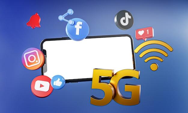 5g najpopularniejsze media społecznościowe instagram facebook tiktok ikony youtube.