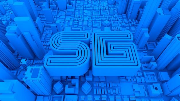5g nowych technologii telekomunikacyjnych niebieskie litery