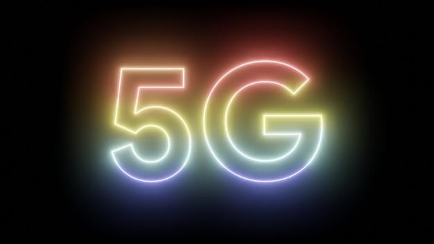 5g tekst neonowe światło kolorowe na czarnym tle izolowane renderowanie ilustracji 3d 5g mobile