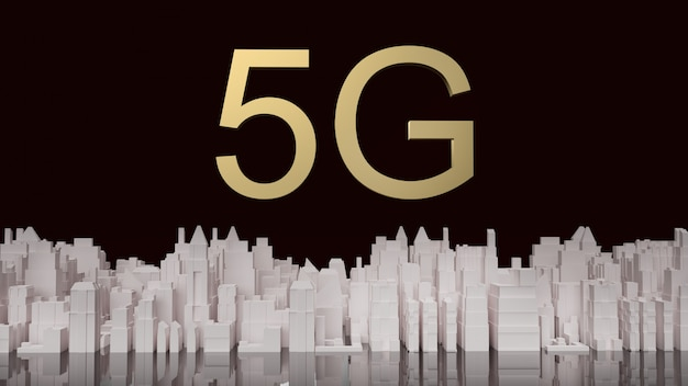 5g złotych i białych budynków renderowania 3d dla treści sieciowych.