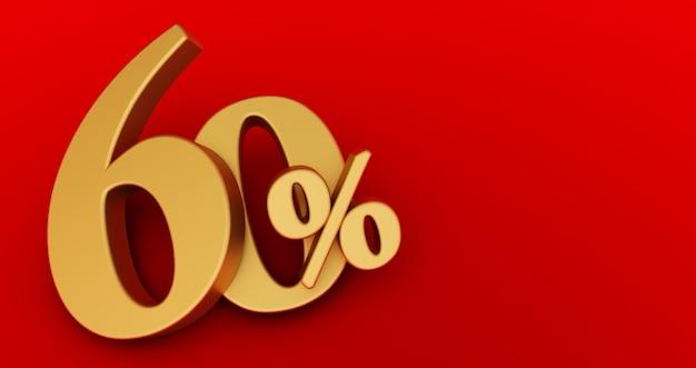 60% zniżki. złoto sześćdziesiąt procent. sześćdziesiąt procent złota na czerwonym tle. renderowania 3d.