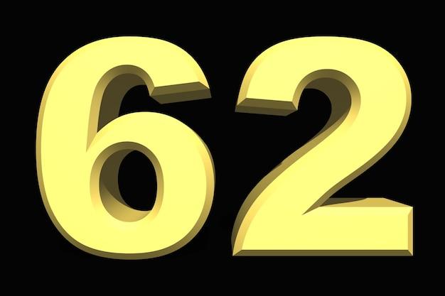 62 sześćdziesiąt dwa numery 3d niebieski na ciemnym tle