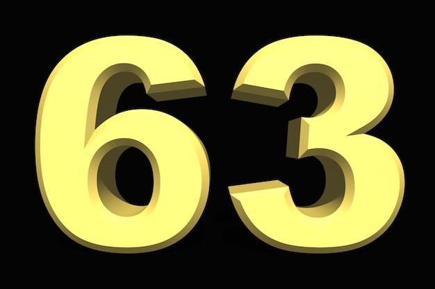 63 sześćdziesiąt trzy cyfry 3d niebieskie na ciemnym tle